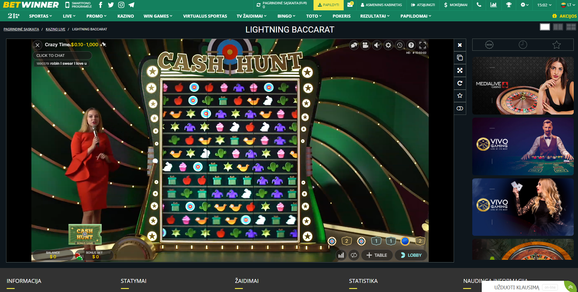 betwinner evolution gaming crazy time kazino žaidimas cash hunt žaidimo vedėja