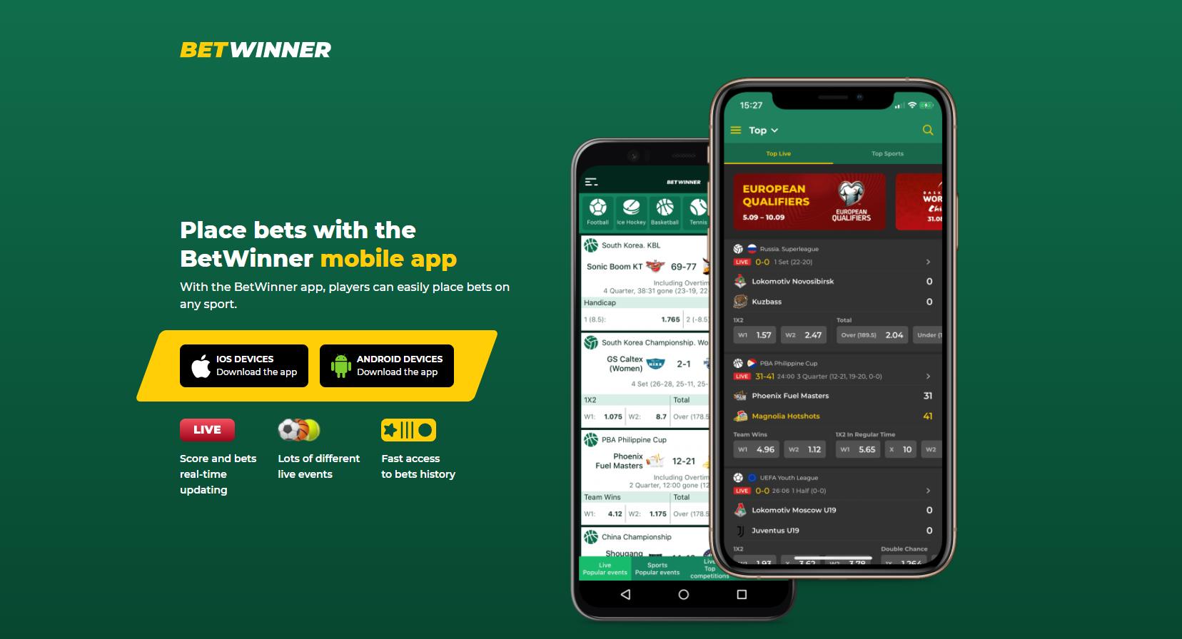 betwinner mobile app mobili versija android ios įrenginiai