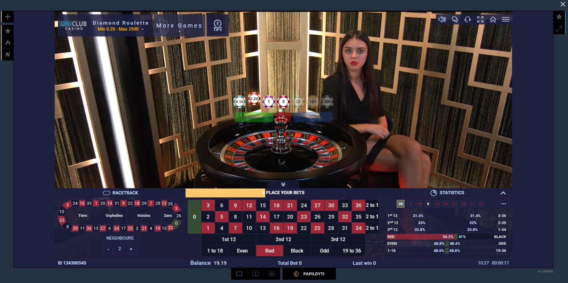 uniclubcasino ezugi live kazino krupjė ruletė dalintoja