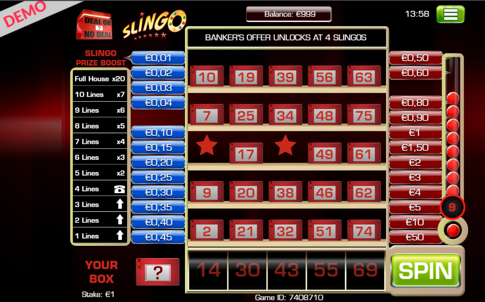 deal or no deal slingo kazino žaidimas laiminga skrynia