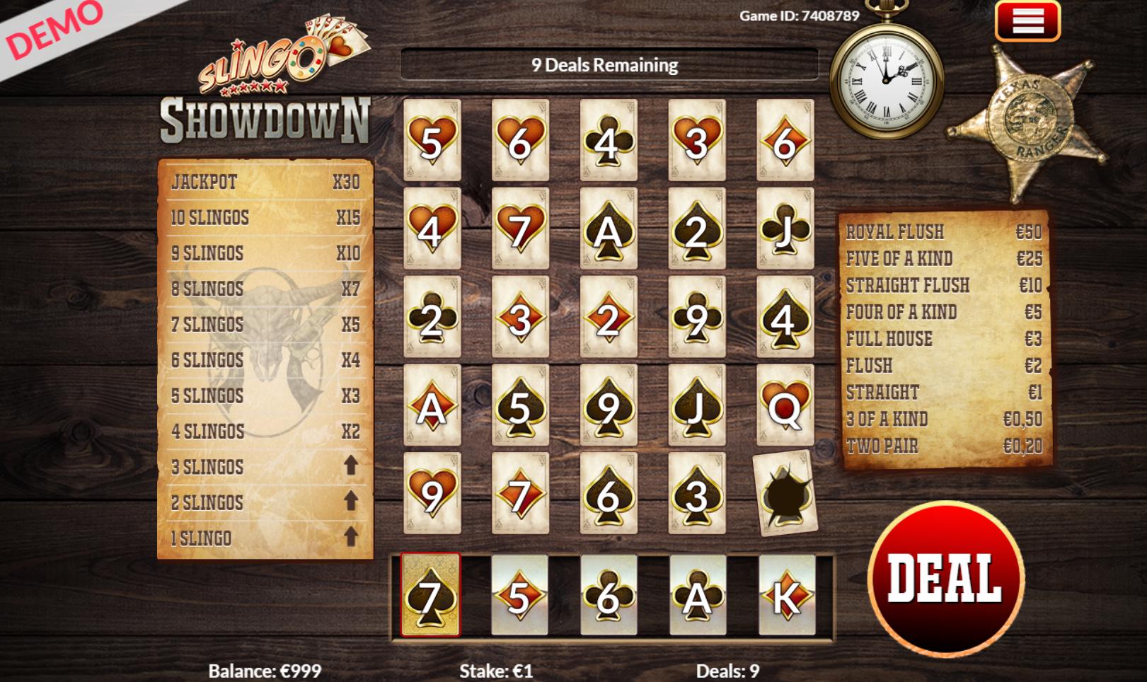 slingo showdown kazino žaidimas laukiniai vakarai