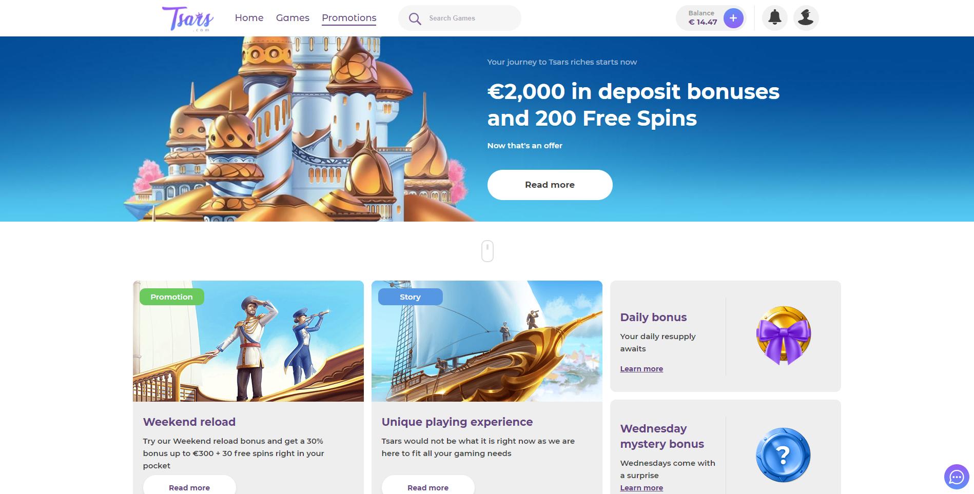 tsars casino bonus premija 2000€ 200 nemokamų sukimų karalystė pilis laivas tsars casino no deposit bonus