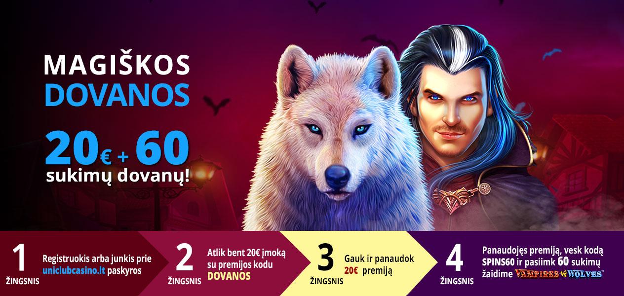 uniclub casino magiškos dovanos premija 20€ 60 nemokamų sukimų vilkas ir vampyras