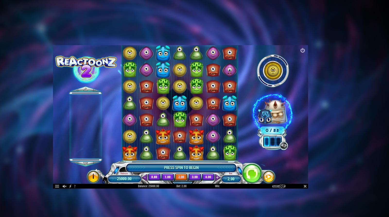 reactoonz 2 lošimo automatas play n go