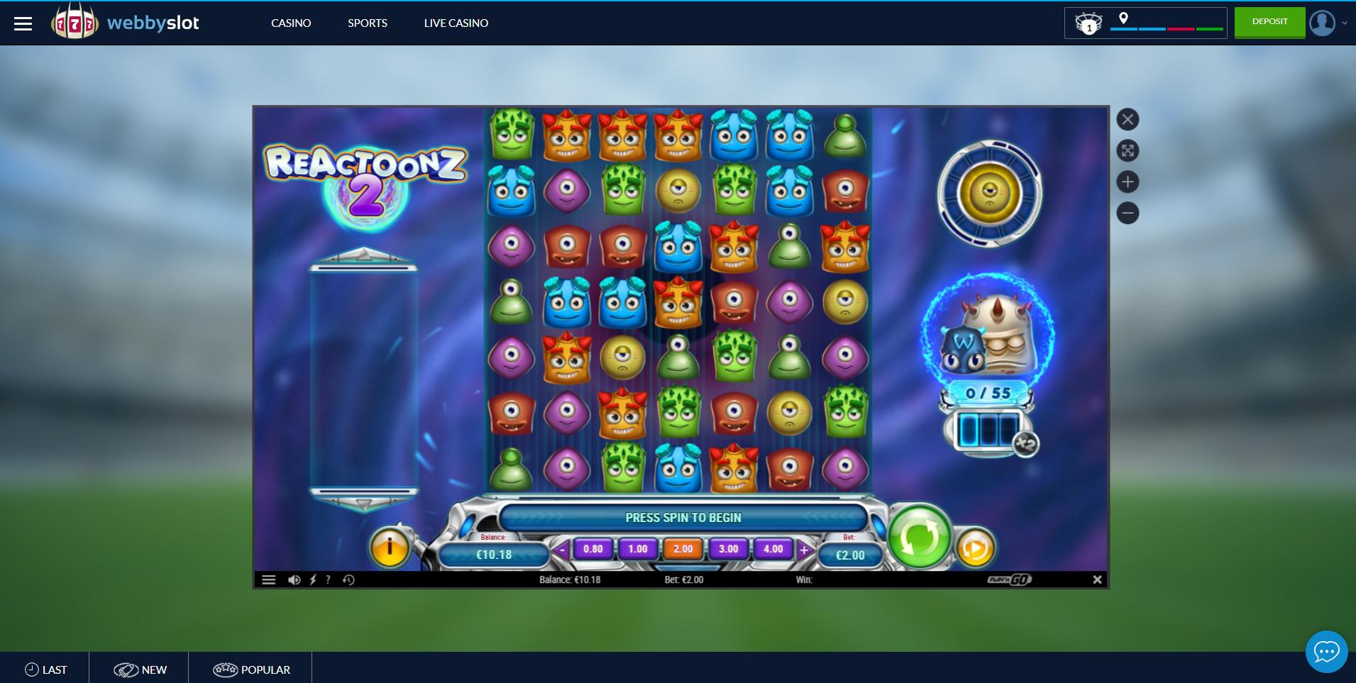 reactoonz 2 play n go webbyslot lošimo automatas