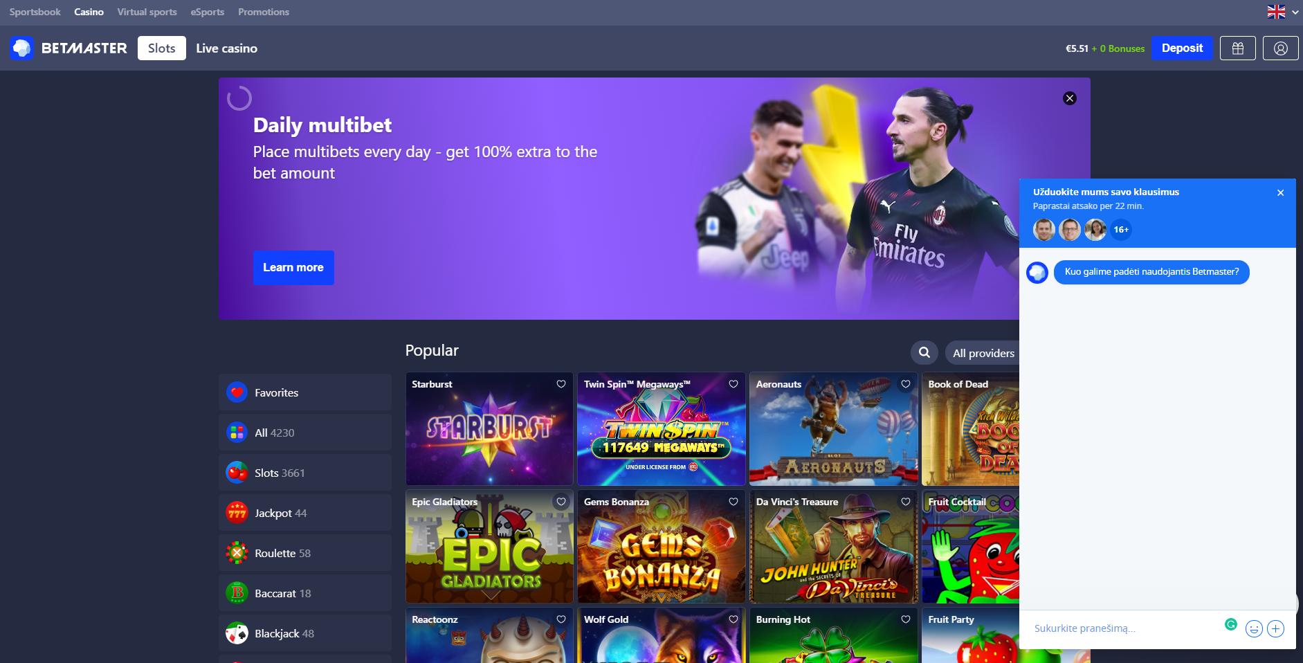 betmaster kazino klientų aptarnavimo centras live chat