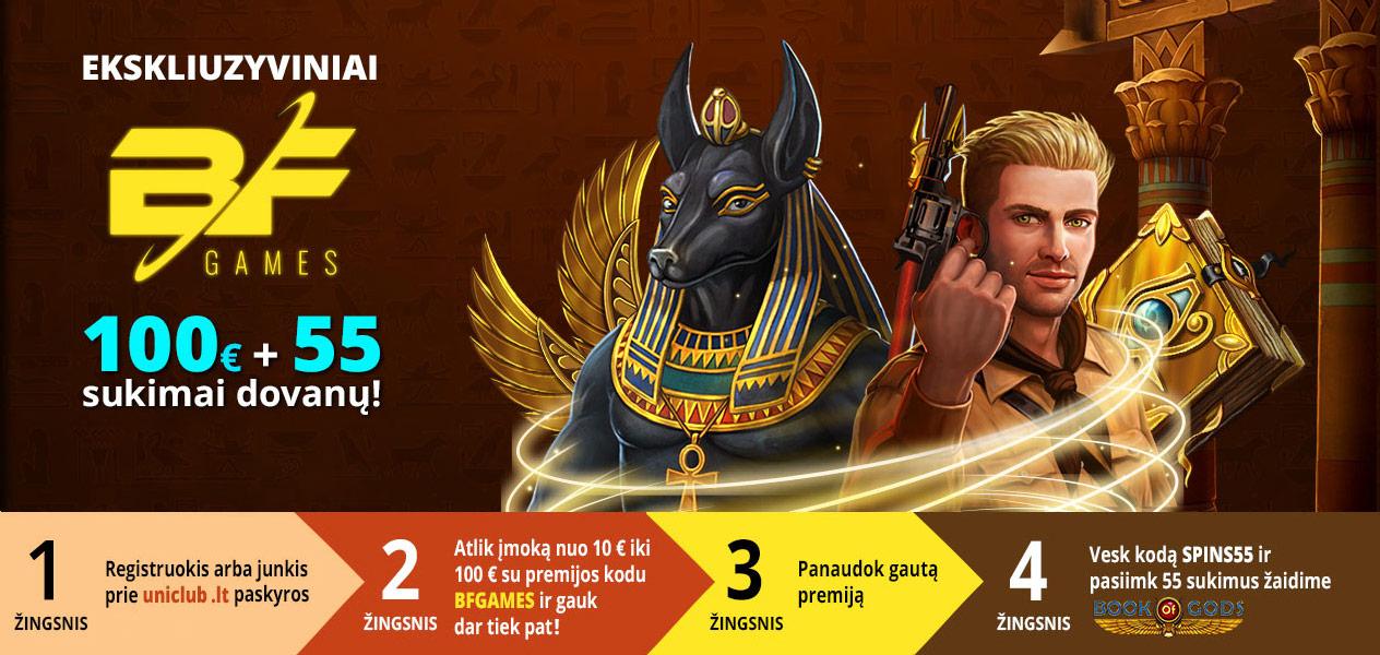 bf games premija uniclub kazino 100% iki 100€ nemokami sukimai