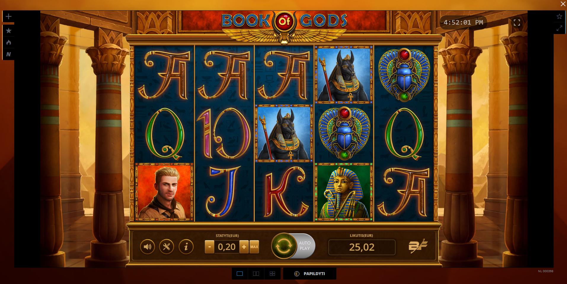 book of gods uniclub kazino lošimo automatas