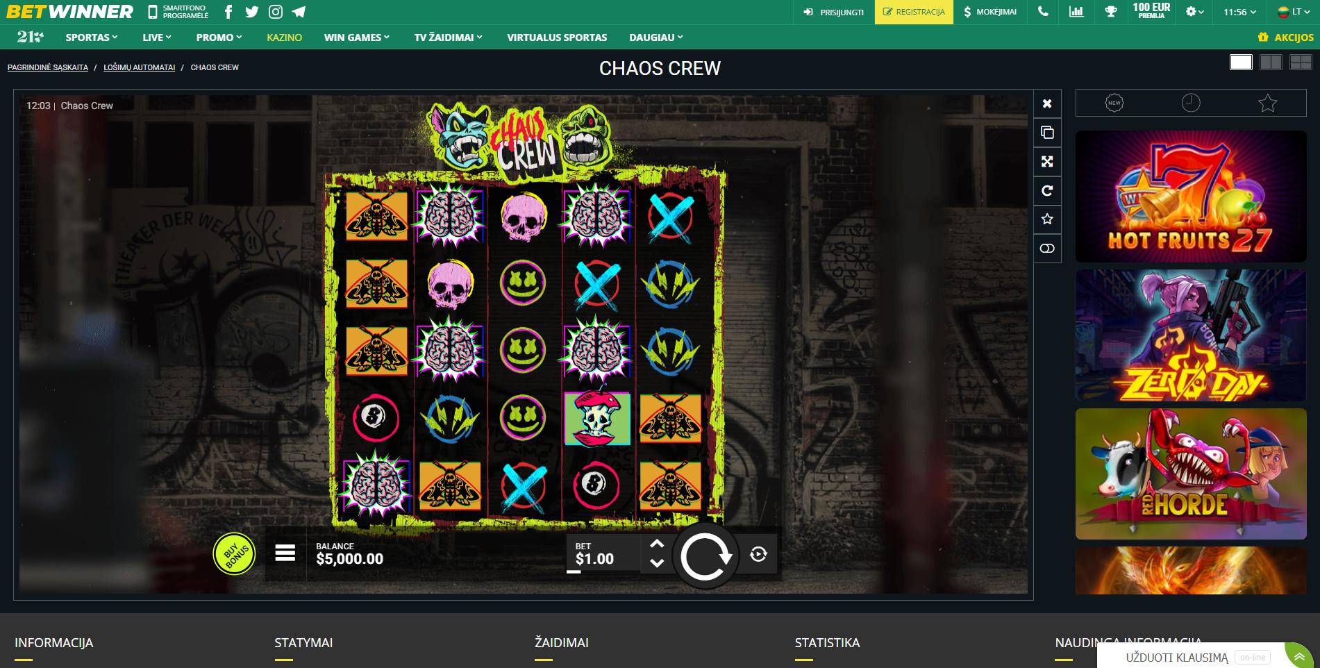 chaos crew lošimo automatas slot betwinner casino
