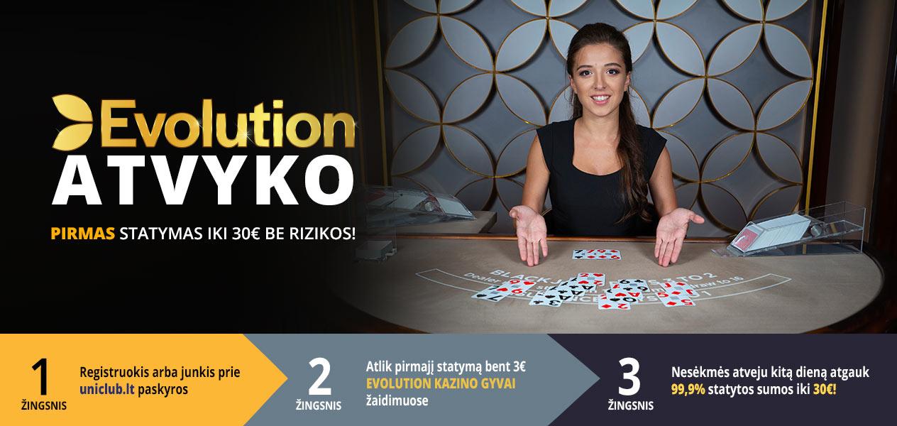 uniclub live kazino premija 30€ statymas be rizikos