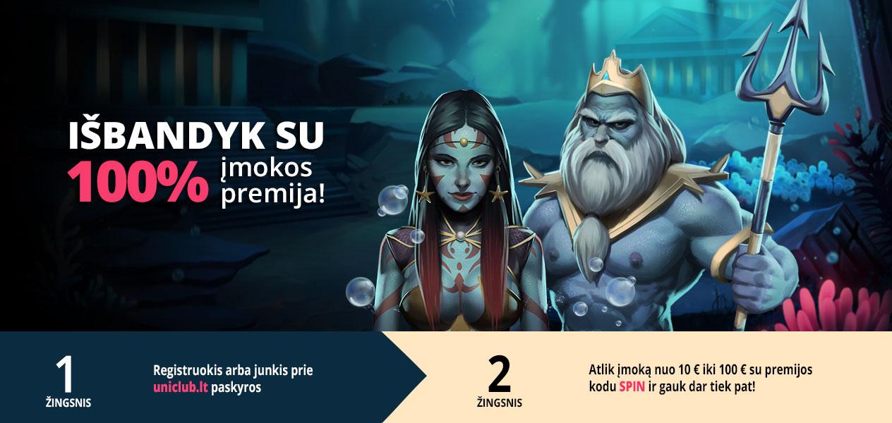 uniclub kazino įmokos premija iki 100€ spinmatic poseidon