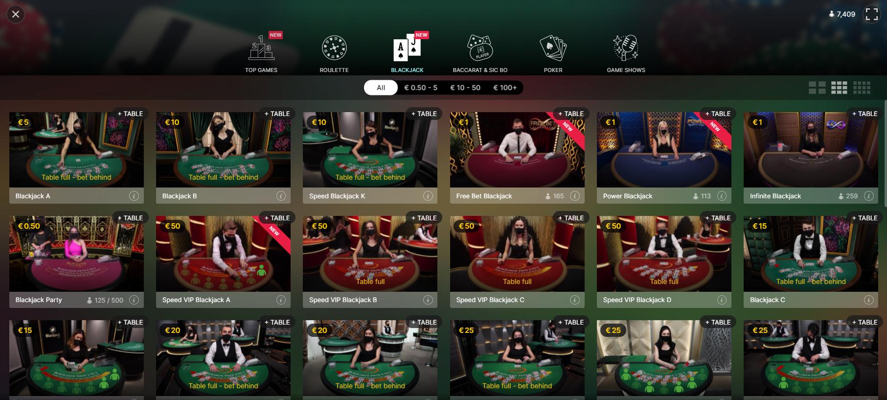 uniclub live kazino evolution gaming lobby blackjack ruletė pokeris baccarat