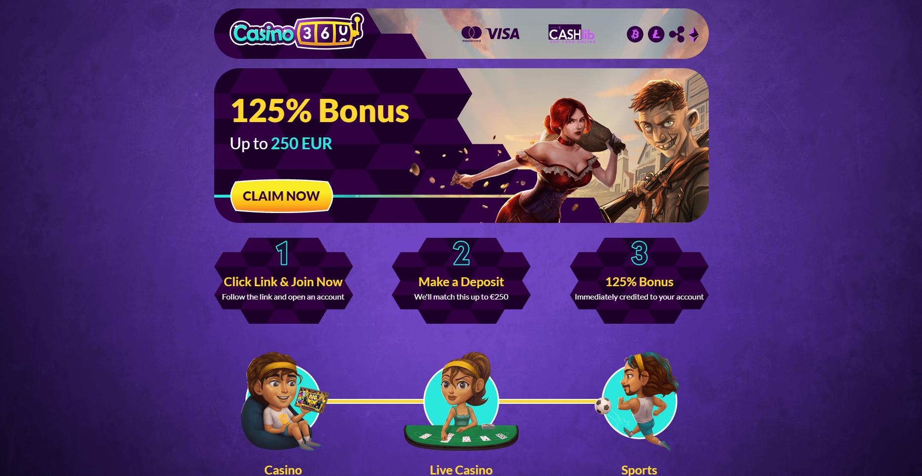casino 360 bonus išskirtinė premija casinoguru 125€ iki 250€ casino360 no deposit bonus