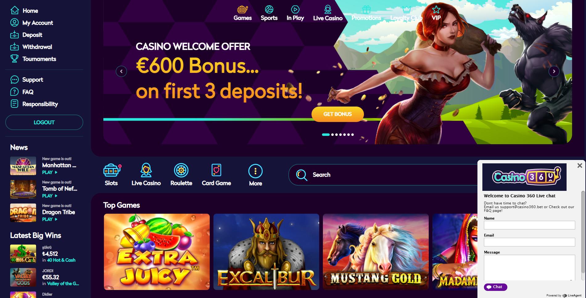casino360 live chat klientų aptarnavimo centras