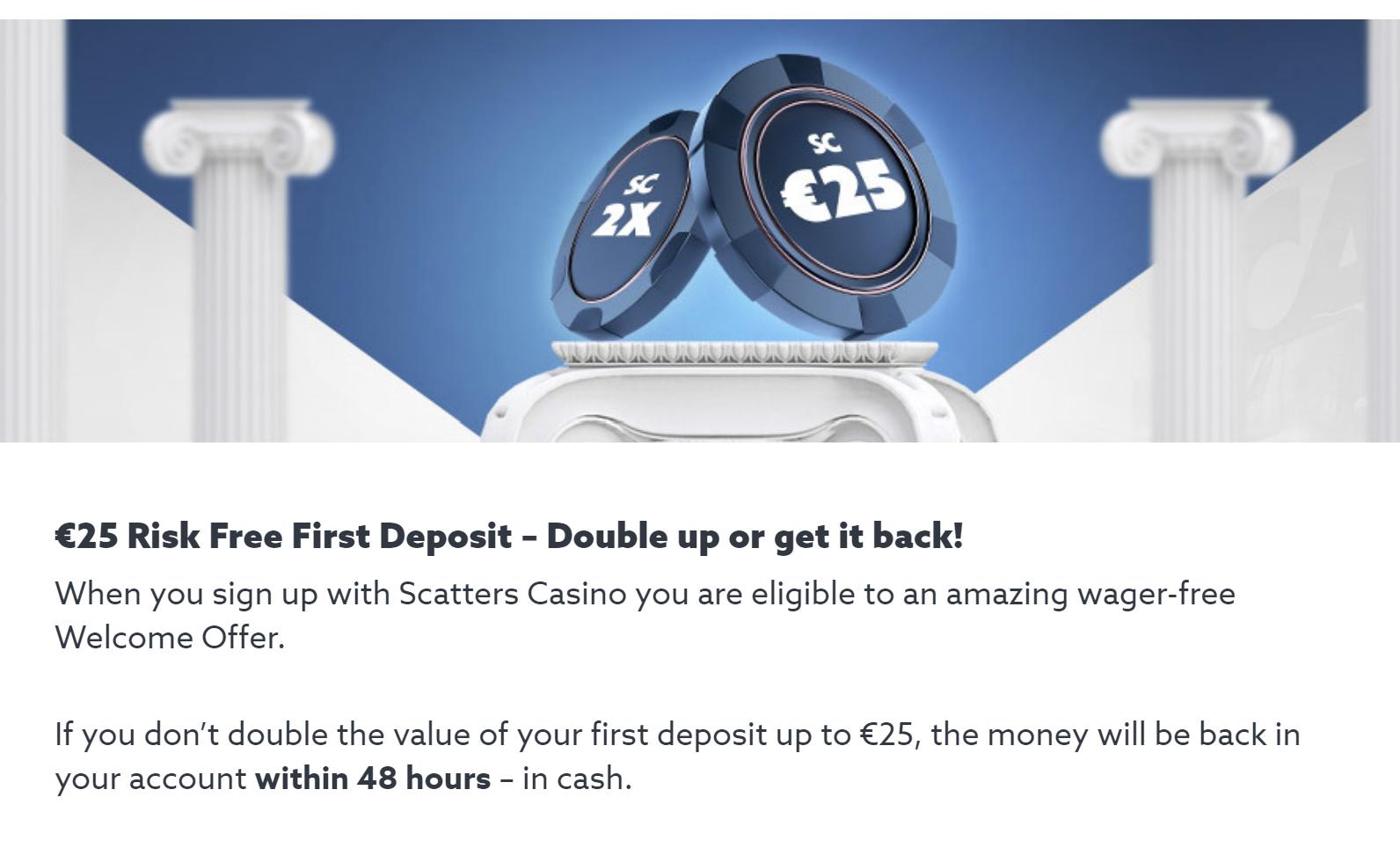 25€ kazino įmoka be rizikos no risk first deposit
