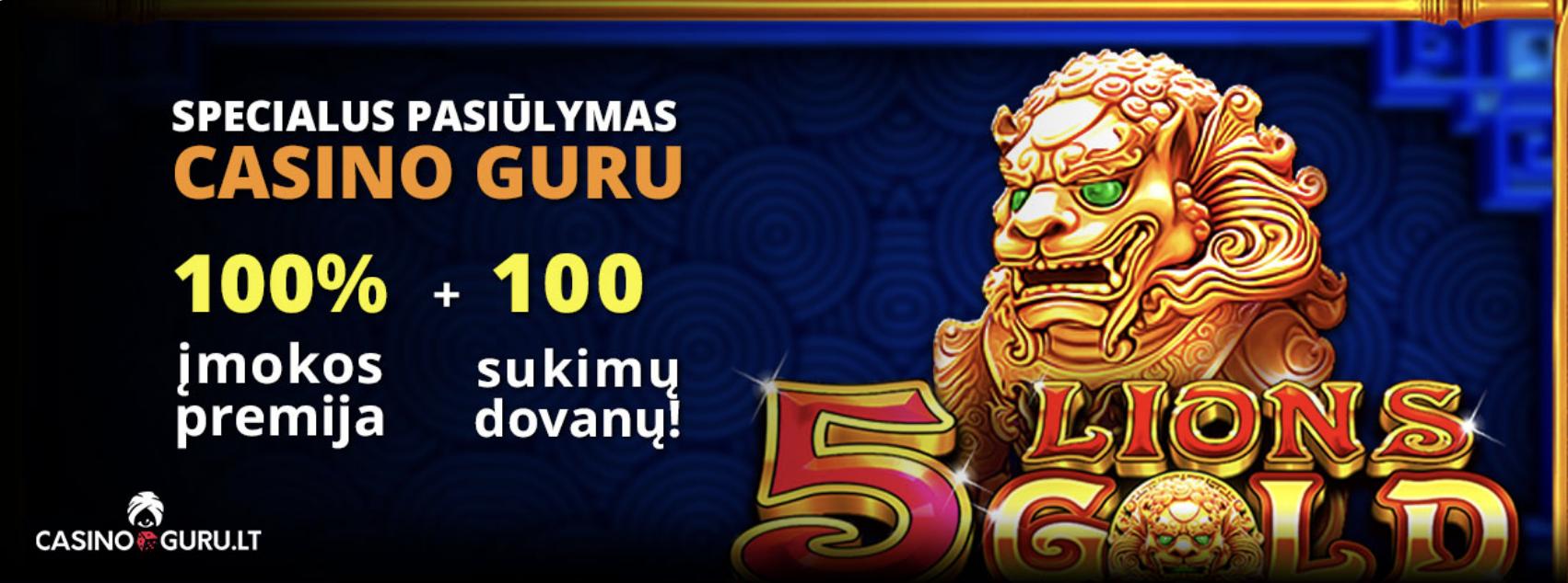 100% kazino įmokos premija akcija 5 lions uniclub