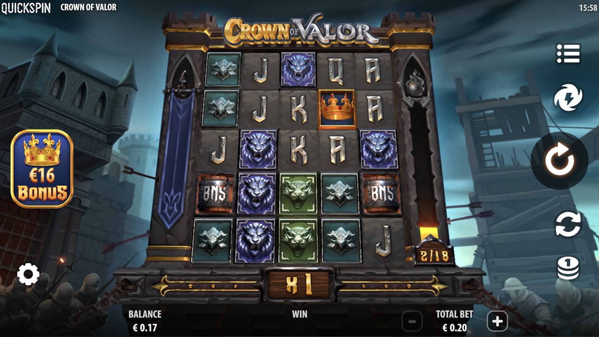 crown of valor lošimo automatas quickspin