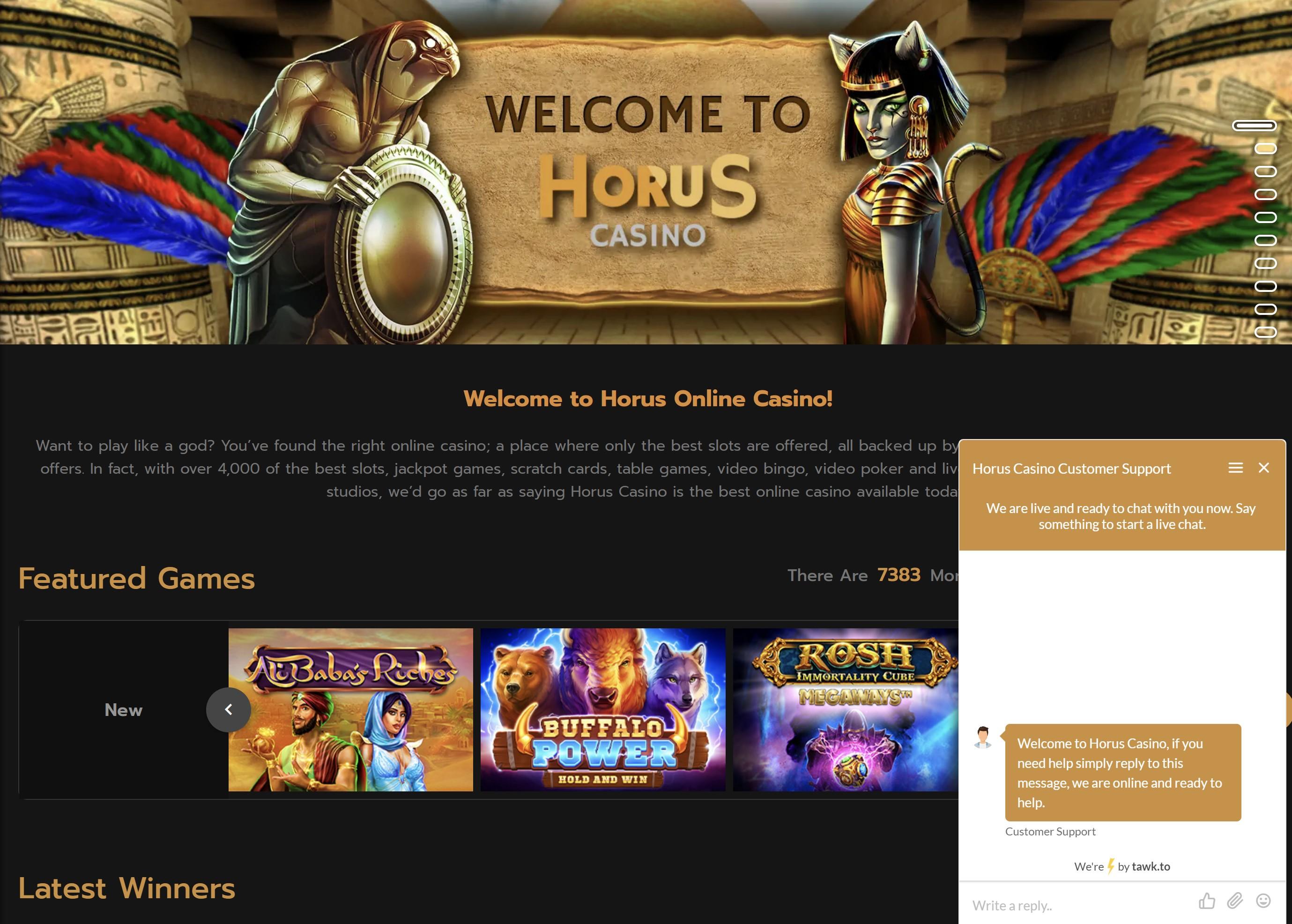 horus casino live chat klientų aptarnavimo centras