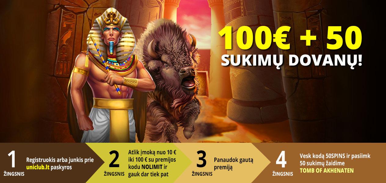 nolimit city akcija uniclub casino 100€ + 50 sukimų