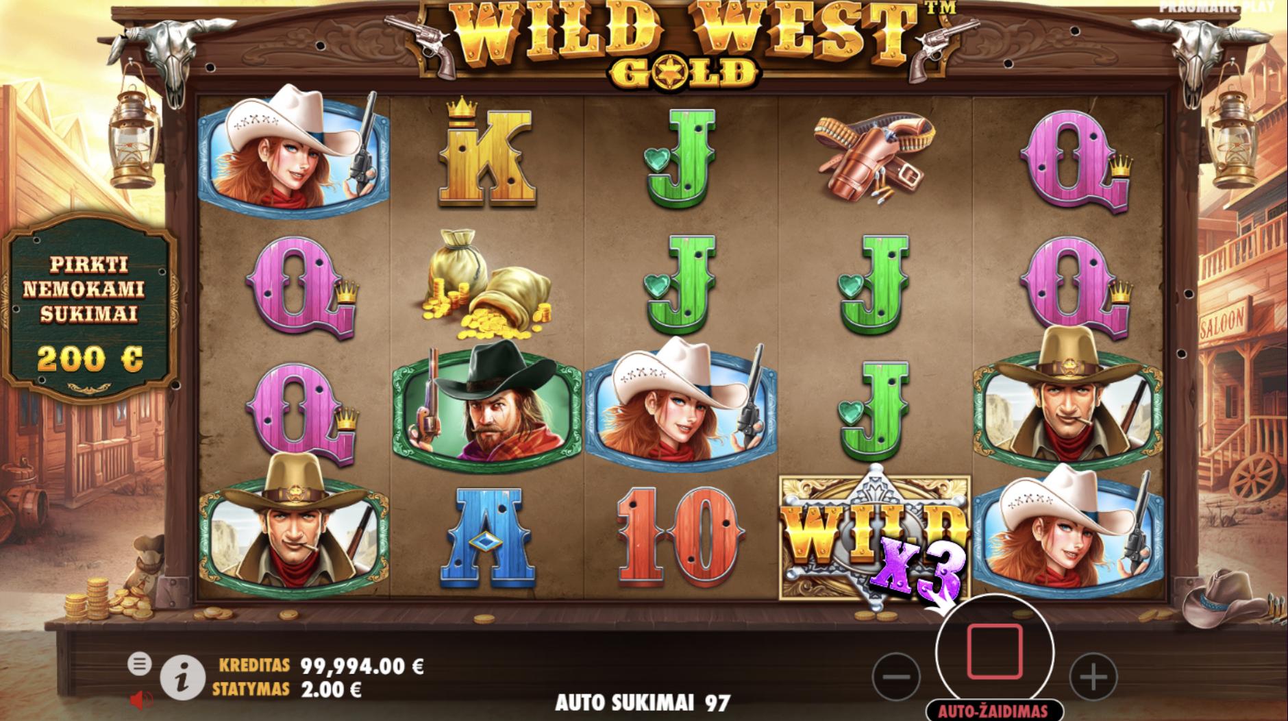 wild west gold pragmatic play lošimo automatas - šerifas ir šerifė laukiniai vakarai