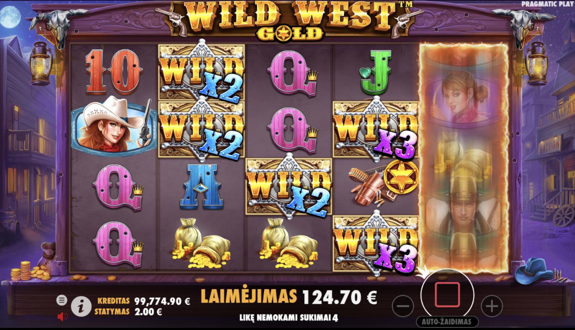 wild west gold free spins didelis laimėjimas wild simboliai