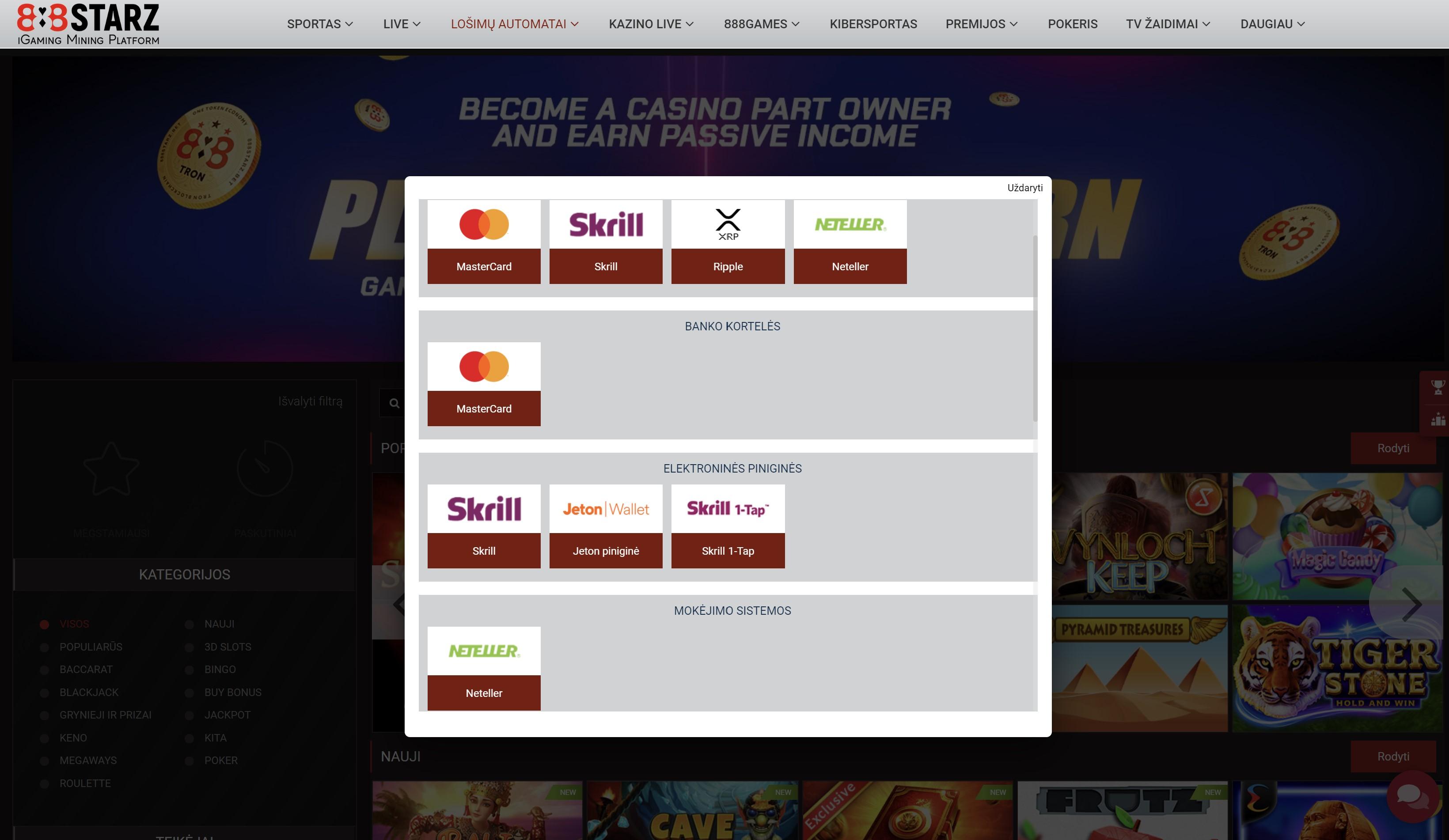 888starz mokėjimo metodai mastercard skrill neteller ripple kriptovaliutos
