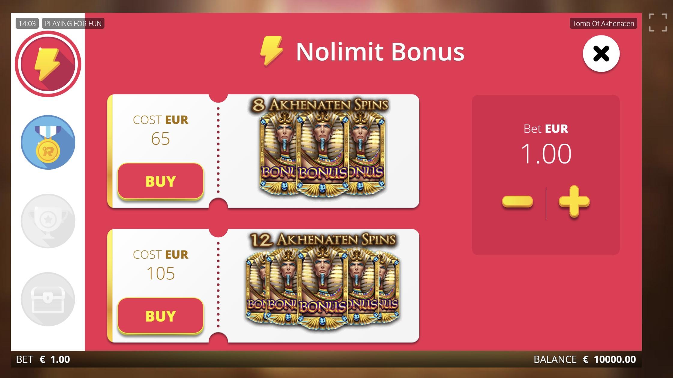 tomb of akhenaten free spins nolimit bonus