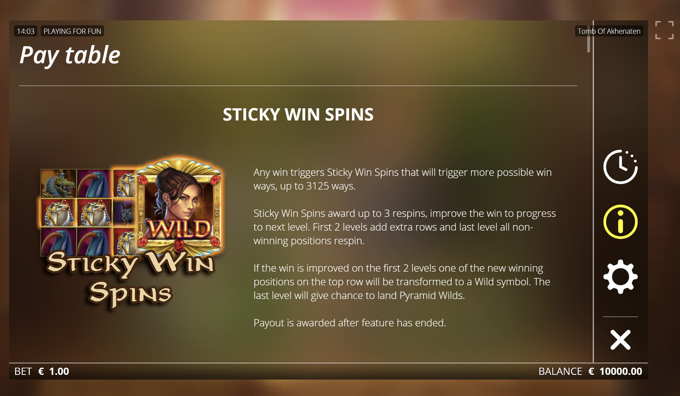 tomb of akhenaten sticky win spins