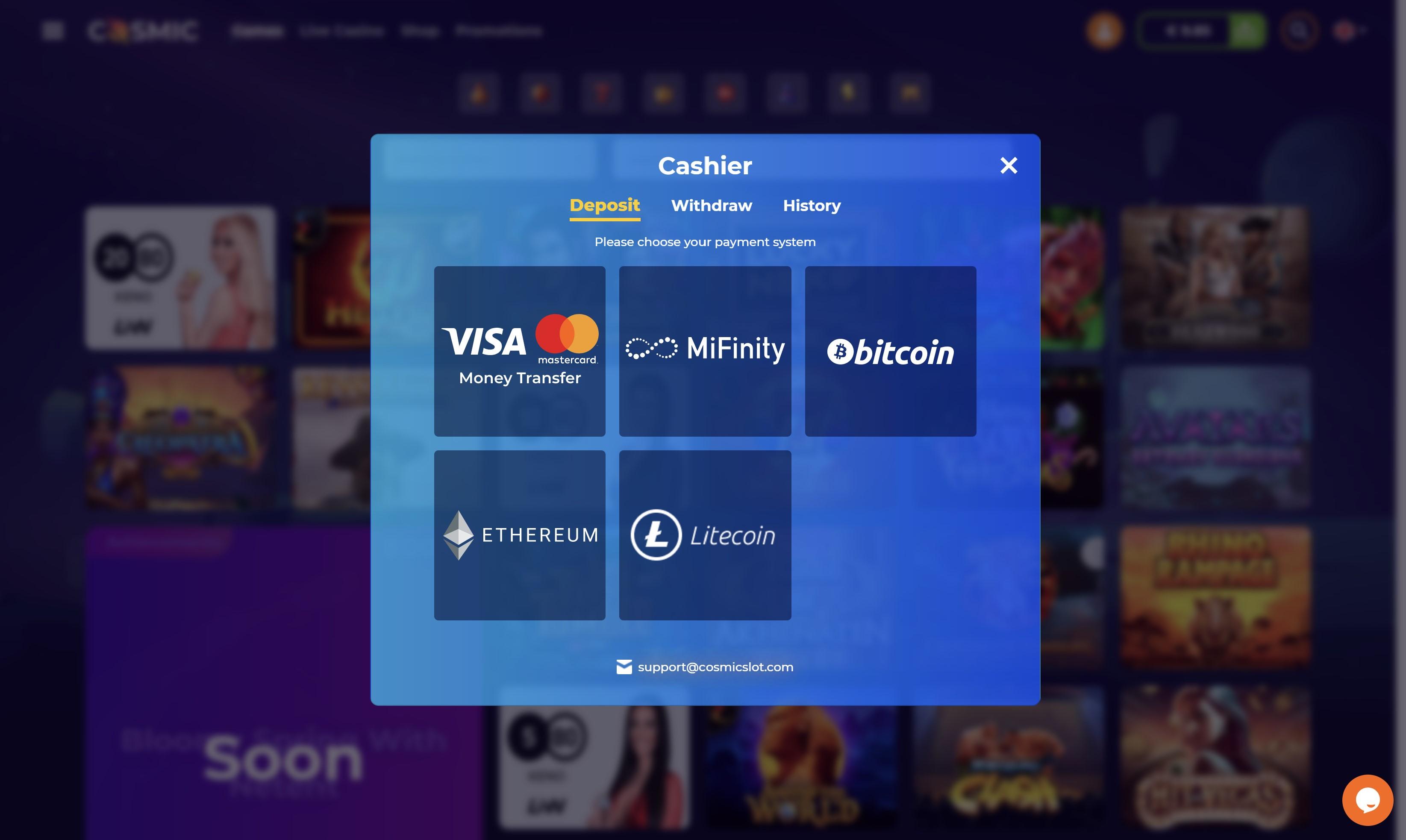 cosmic slot mokėjimo metodai visa mastercard bitcoin litecoin ethereum