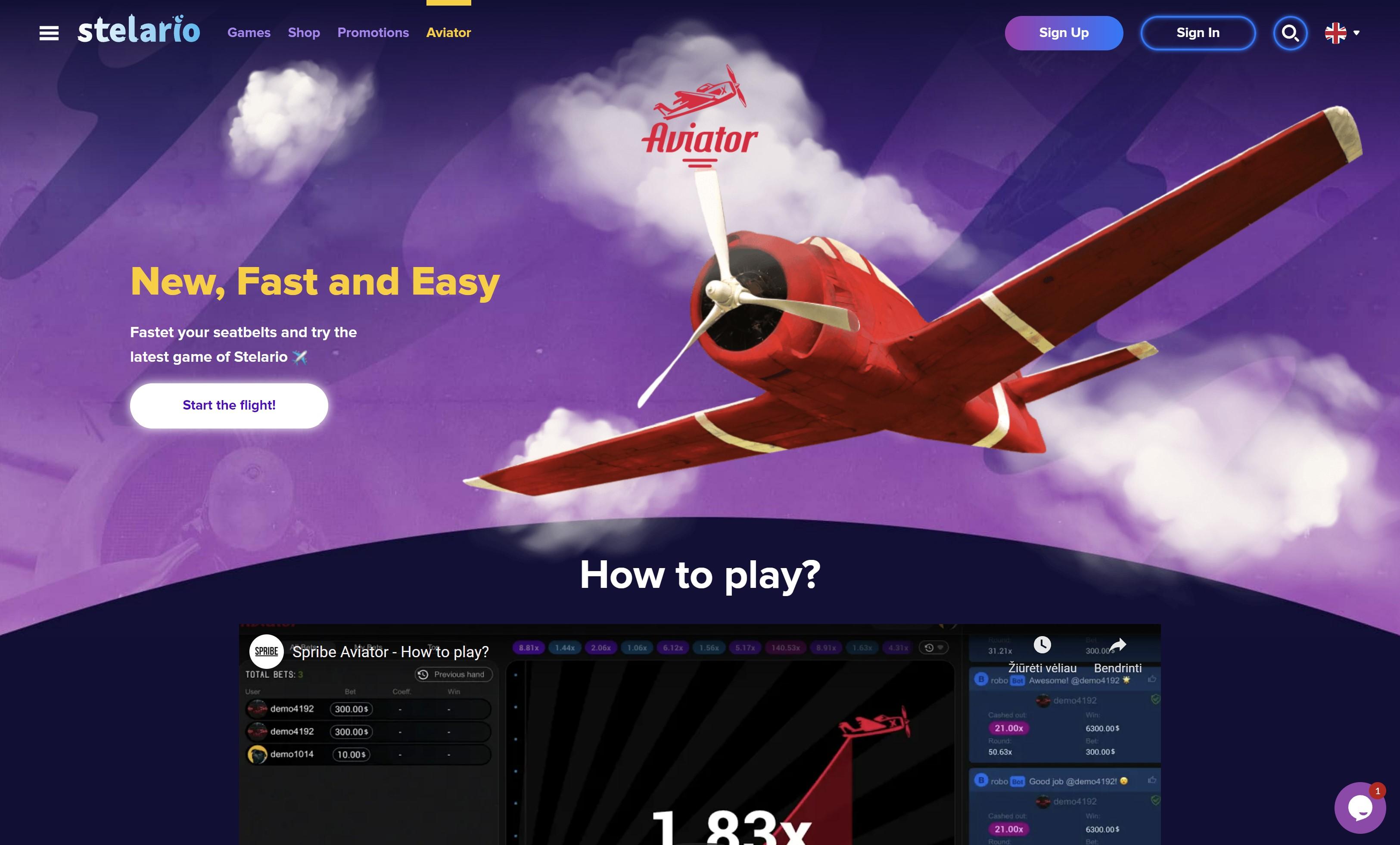 stelario aviator kazino žaidimas raudonas lėktuvas