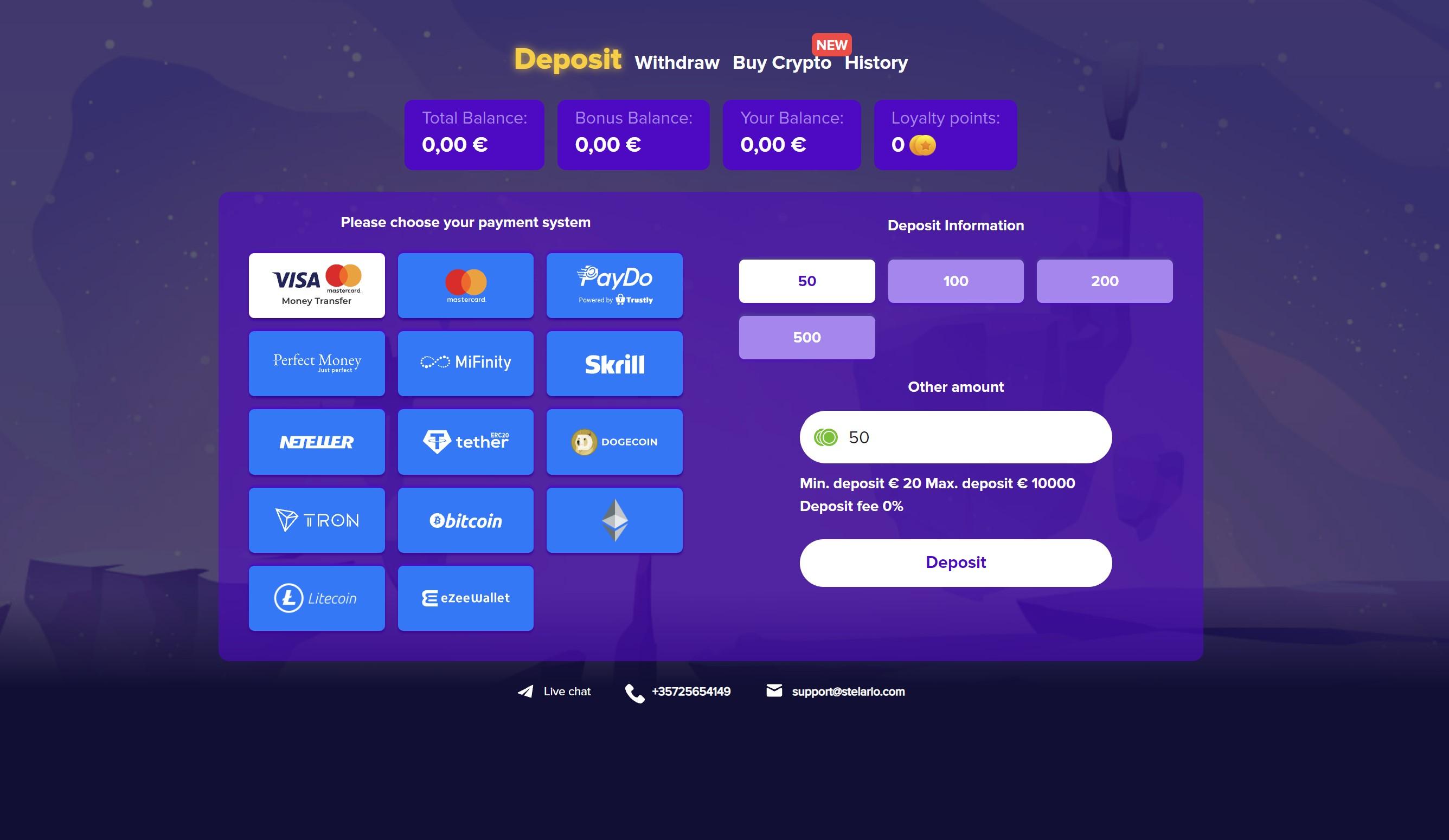 stelario kazino mokėjimo metodai visa mastercard dogecoin ethereum tron